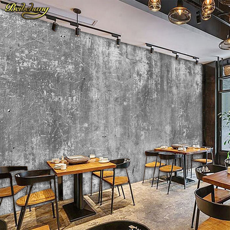 beibehang stereo retro concrete wall wallcovering cafe milk tea shop leisure bar industrial wind