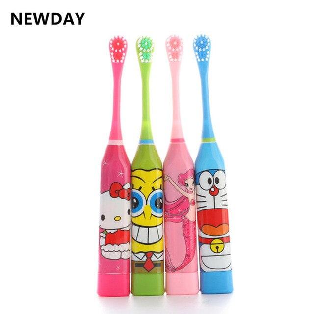 Newday niños cepillos de dientes lindo patrón de dibujos animados cepillo  de dientes eléctrico Cuidado Oral 6914ce2e30ae
