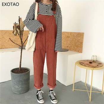 EXOTAO Corduroy Loose Casual Bodysuit for Female Retro Pocket Adjustable Lace Feminino Jumpsuits All Match Solid Lady Macacao pocket