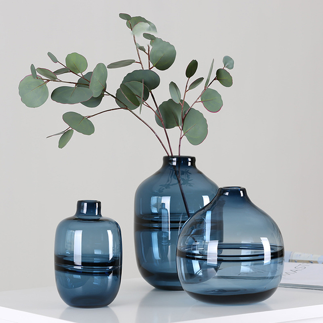 Creative Glass Vase Blue Flower Vase Ornaments Transparent Glass Container Miniature Craft Living Room Vases For Decoration Gift & Creative Glass Vase Blue Flower Vase Ornaments Transparent Glass ...
