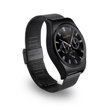 Satt Runde Smart Uhr reloj Inteligente Pulsmesser Leder Smartwatch Intelligente Elektronik Gesundheit Uhr Montre Connecter