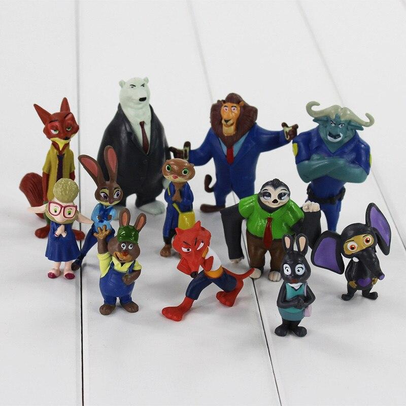 12pcs Movie Zootopia Toys Zootropolis Judy Nick Bogo Figure 4-7cm Doll Gift Kids