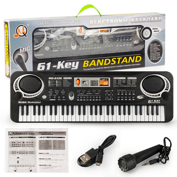 61 Keys Digital Electronic Piano Keyboard Electric Piano with Charger Microphone Electronic Organ For Kids Keyboard New electronic organ 61 keys electronic portable silicone flexible hand roll up piano built in speaker midi out keyboard organ