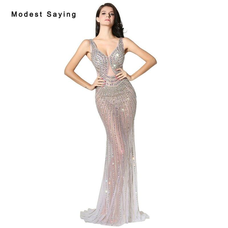 15eda1f7ffbb Sexy See Through Mermaid V Neck Crystal Evening Dresses 2017 with Rhinestone  Formal Women Party Prom Gowns vestido festa longo