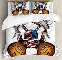 Гитара постельное белье, скрещенных электрических Гитары с черепом американский флаг Live Free Or Die Байкер культуры, 4 шт. Постельное белье