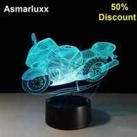 Moto 3D Lampada Da Tavolo Decorativa Led Lampara Plexiglas Piatto Lumineuse Lampada Da Comodino Nightlight Colores Bulbing Sconto del 50%