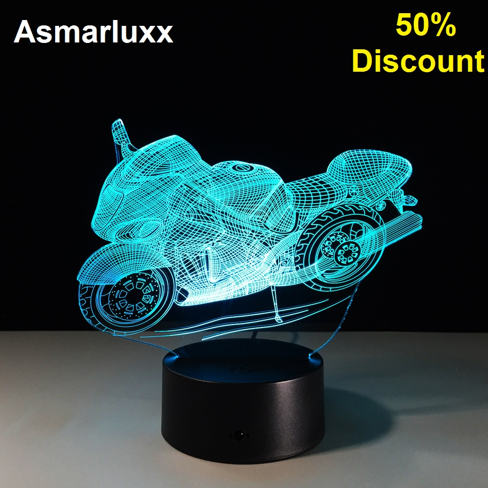 Motorcycle 3D Table Lamp Led Decorative Lampara Plexiglas Plate Lumineuse Bedside Nightlight Colores Bulbing Lamp 50% Discount