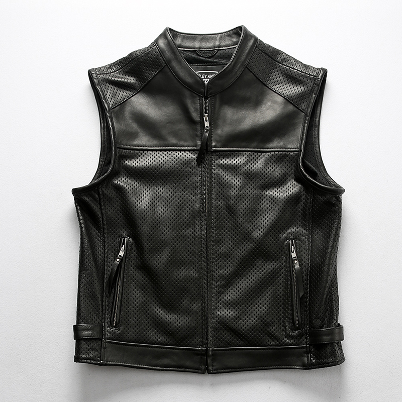 Men's Mesh Breathable Cowhide Vest Perforated Zippper Slim Fit Thick Genuine Leather New Motorcycle Vest Vintage Classic Coat