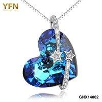 YFN 925 Sterling Silver Austria Kryształ & Cyrkon Charm Gwiazda Naszyjnik Romantyczny Oceanu Miłość Serca Projektowania Mody Biżuterii