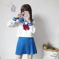 Small Fresh School Uniforms Girls JK Uniform Long Sleeve Shirts Skirts Suit Student High School Japanese Preppy Sailor Suit