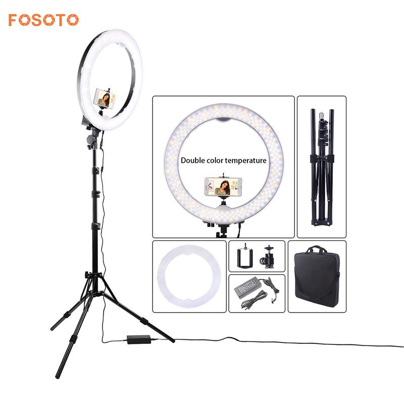 fosoto Newest 18 photography Lighting 240 Leds Bi-color Camera Photo Video Phone RIng Light Lamp&battery Slots&Tripod Stand fosoto Newest 18 photography Lighting 240 Leds Bi-color Camera Photo Video Phone RIng Light Lamp&battery Slots&Tripod Stand