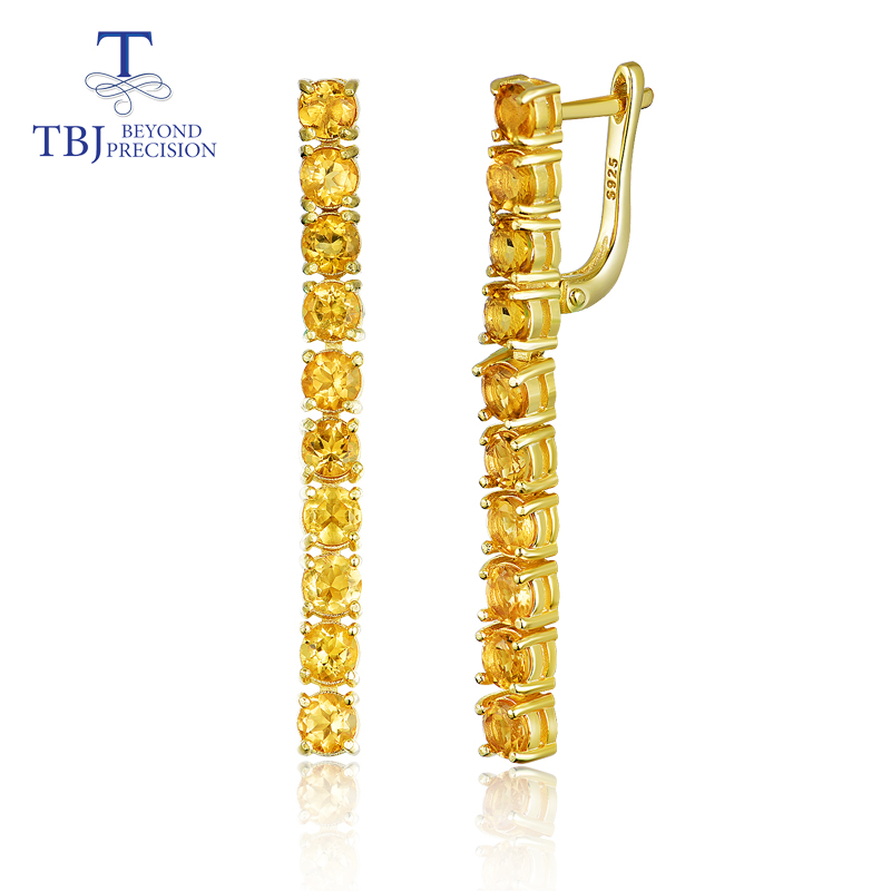 TBJ summer new long clasp earring with natural Citrine Gemstone fine jewelry 925 sterling silver for