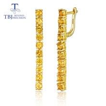 TBJ, новые летние серьги с длинной застежкой и натуральным цитрином, ювелирные украшения из серебра 925 пробы, вечерние серьги, лучший подарок