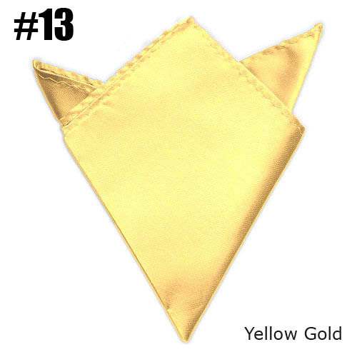 Fashion Mens Solid Color Handkerchief Pocket Square Yellow Gold Wedding Satin Match Suit Free Shipping 24 Colors For Choose