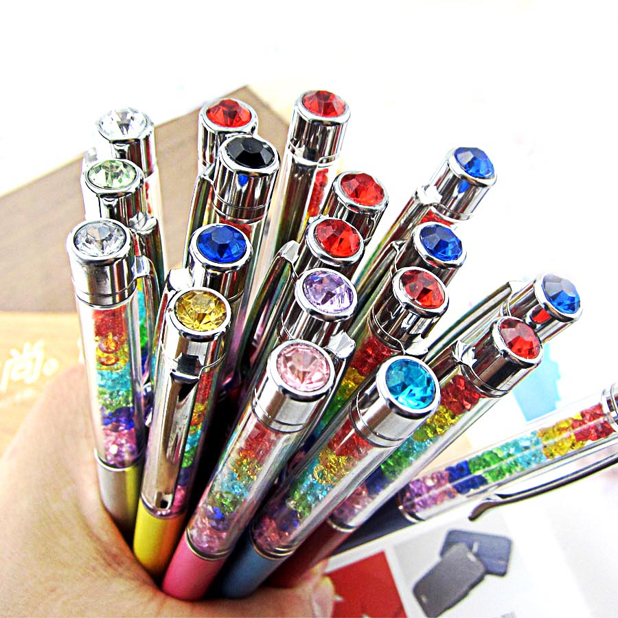 1000Pcs/Lot Lady Rainbow Crystal Diamond Ballpoint Pen Stationery Ballpen Office Material School Supplies can engrave characters-in Ballpoint Pens from Office & School Supplies