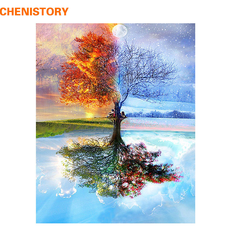 CHENISTORY Frameless Four Seasons Tree Paesaggio DIY Pittura By Numbers Kit Pittura Su Tela Pittura Calligrafia Per La Decorazione Domestica
