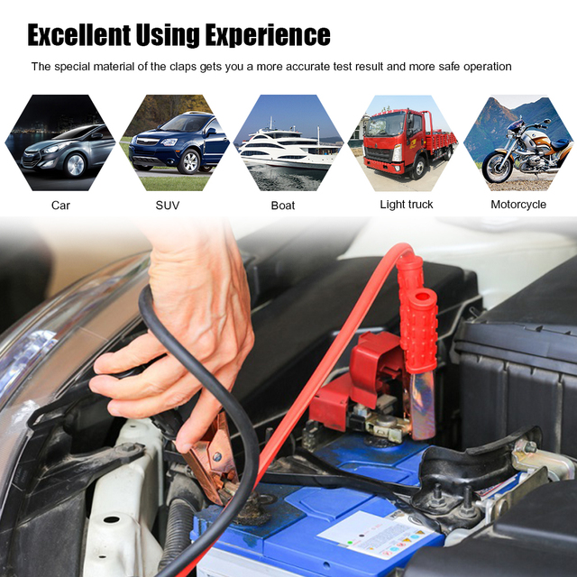 KONNWEI KW600 Car Battery Tester 12V Digital Color Screen Auto Battery Analyzer 100 to 2000CCA Cranking Charging Car Diagnostic