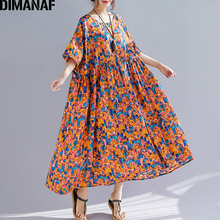 DIMANAF Plus Size Women Print Dresses Summer Sundress Cotton Linen Female Lady Vestidos Loose Long Beach Dress Big 5XL 6XL