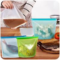 ZMHEGW 4 Teile/satz Wiederverwendbare Vakuumnahrungsmitteleichmeister für Kühlschrank Silikon Aufbewahrungstasche Container Küche Kühlschrank Farbige Druckverschlussbeutel