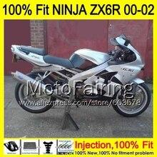 8Gifts Injection mold Body For KAWASAKI NINJA ZX-6R 00-02 1MH31 ZX 6R ZX6R 00 01 02 ZX636  2000 2001 2002 Fairing silver black