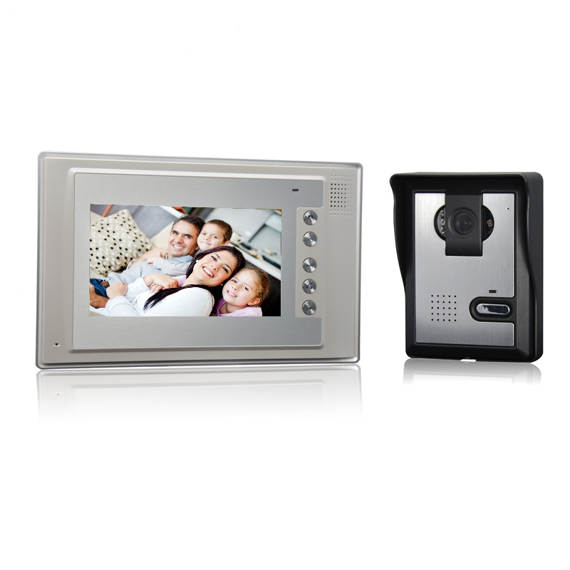 (1 set) HD 600TVL Wire one to one Video Door Phone Night version Camera CMOS Lens 7 inch TFT-LCD color screen RFID card unlock 7 inch video doorbell tft lcd hd screen wired video doorphone for villa one monitor with one metal outdoor unit rfid card panel