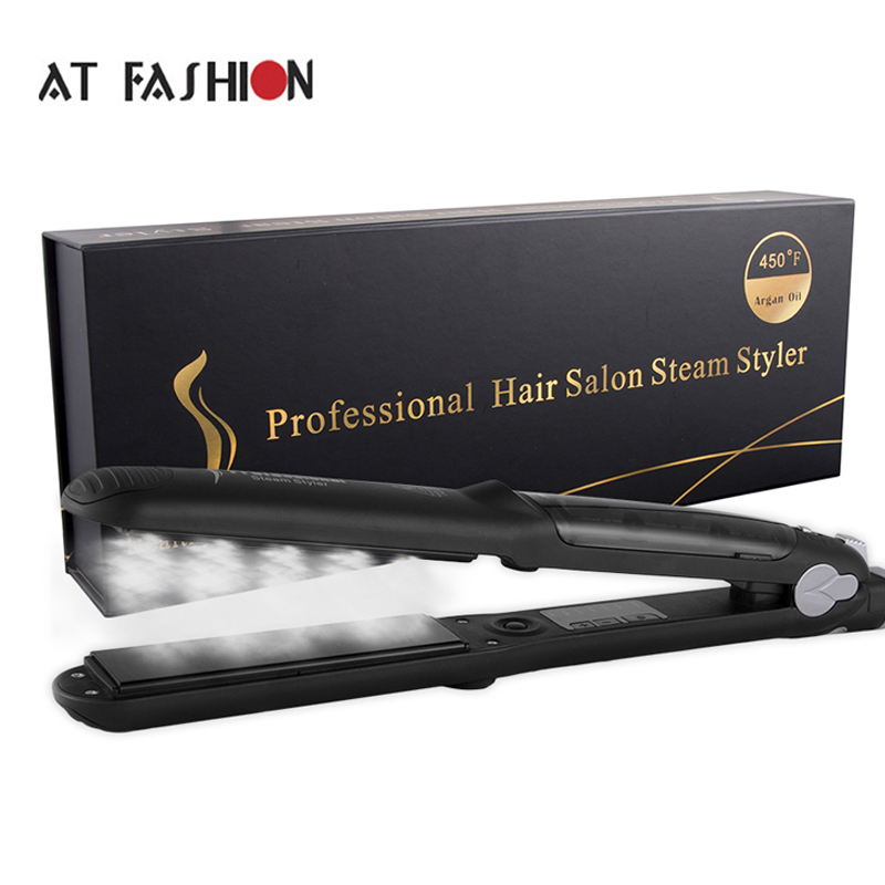 110-240V Professional Hair Steam Straightener Tourmaline Ceramic Vapor Hair Care Styling Tools 450F Argan Oil Steam Flat Irons professional salon steam styler ptc ceramic vapor steam hair straightener personal use hair styling tool heating iron 110 220v