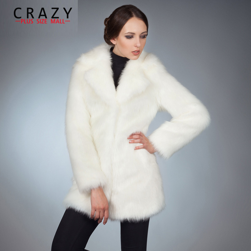 Новинка 2018 большие размеры 5XL зимний костюм воротник роскошный искусственный Лисий мех пальто для женщин искусственный мех пальто
