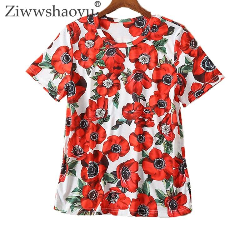 T-shirt d'été pour femmes Ziwwshaoyu T-shirt en coton avec perles vertes et cristal imprimé Floral rouge
