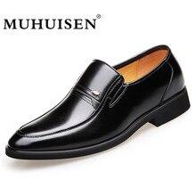 MUHUISEN Bisnis Fashion Pria Gaun Kulit Sepatu Musim Gugur Musim Dingin Baru Klasik Kaki Menunjuk Pria Sepatu Formal Slip Pada Sepatu Oxfords