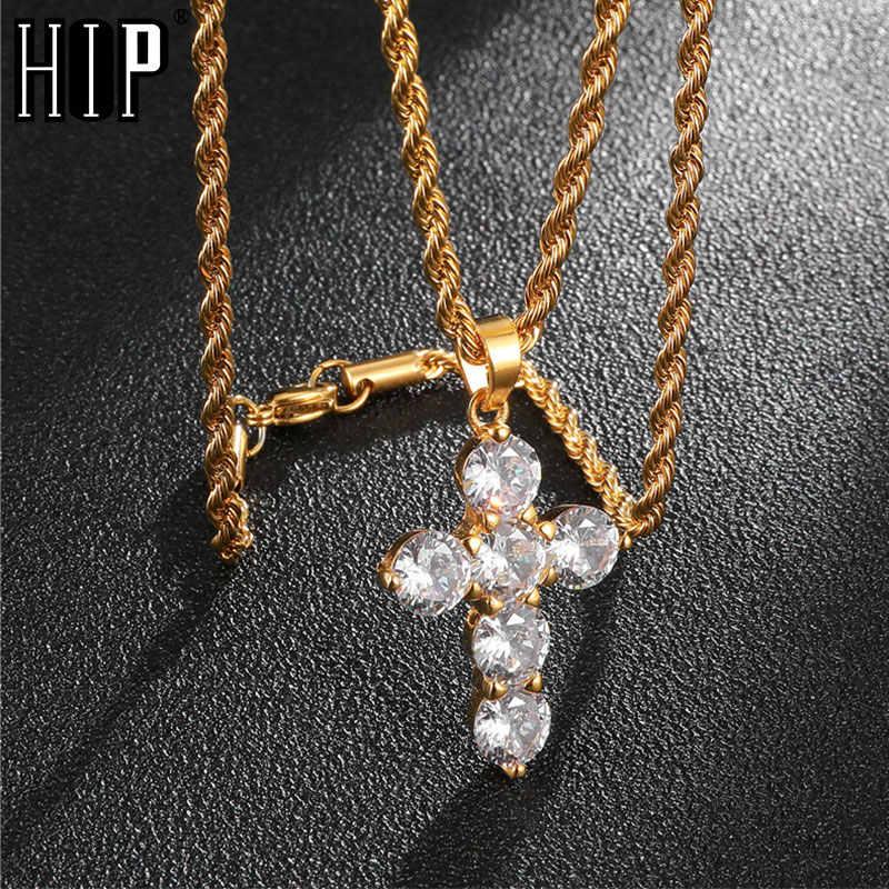 HIP Hop Đá Ra Bling Chữ Thập Bằng Thép Không Gỉ Dây Chuyền & Mặt Dây Màu Vàng Dành Cho Nam Trang Sức Chuỗi Dây Dropshipping