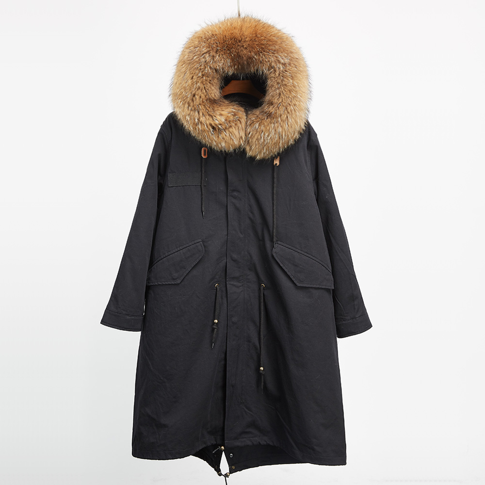 Real raccoon fur collar parka hooded female fur jacket detachable down liner coats for women winter long printed long raccoon fur collar coat women winter real rabbit fur liner hooded jacket women bomber parka female ladies fp896