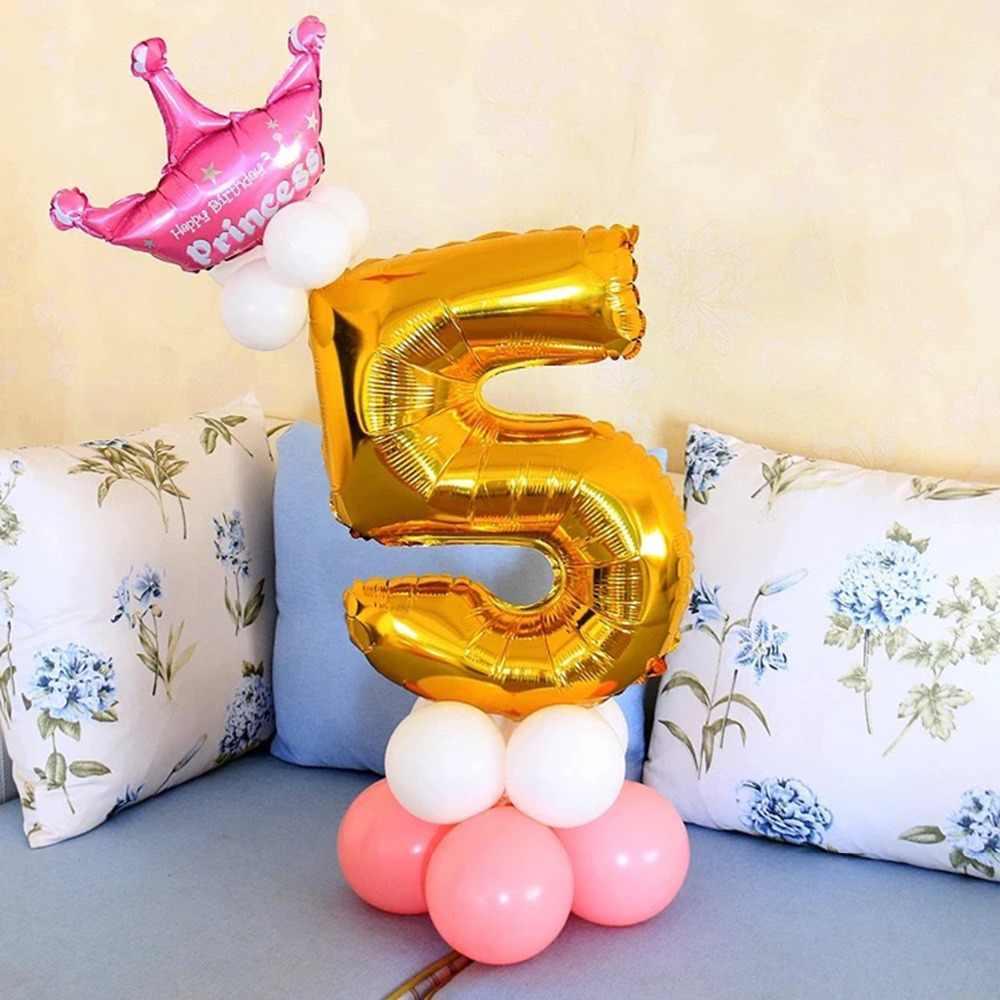 LAPHIL 17 ชิ้นทองเงินฟอยล์ลูกโป่งยูนิคอร์นบอลลูนบอลลูนวันเกิด Happy Birthday วันเกิดเด็ก Latex Balon