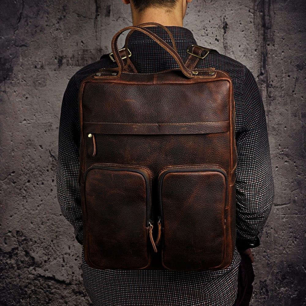 Original Leather Heavy Duty Large Design Men Travel Casual Backpack Daypack Rucksack Fashion College School Book Laptop Bag 2107