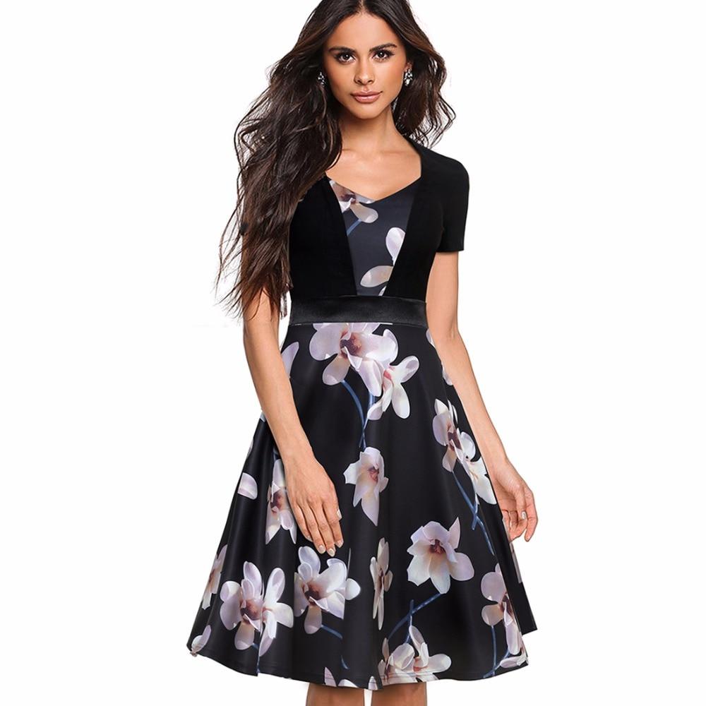 Summer New Fashion Vintage Floral Print A-line Dress Women Elegant Casual Short Sleeve Tunic Swing Party Dress EA033
