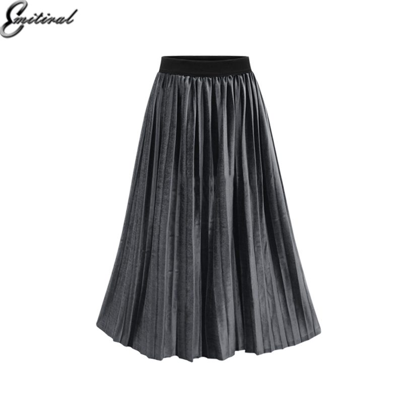 emitiral velvet pleated skirt elastic waist