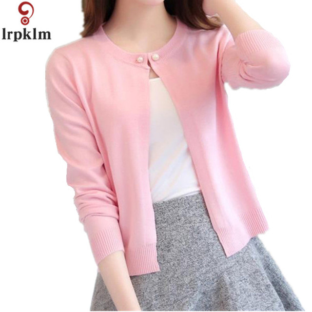 58a6348dfd9e8f Women Slim O Neck Knitted Cardigan Cropped Cardigan Sweaters Ladies Solid  Shrugs For Women Short Cardigans Candy LZ148