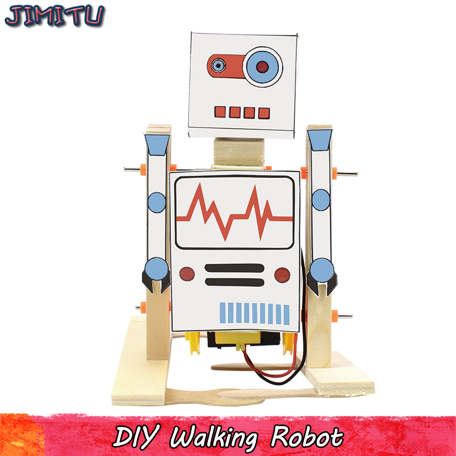 Walking Robot Model Kits Toys For Boys Wooden Electric Experiment Science Handmade Assembly Models Educational Toy Study Hobbies