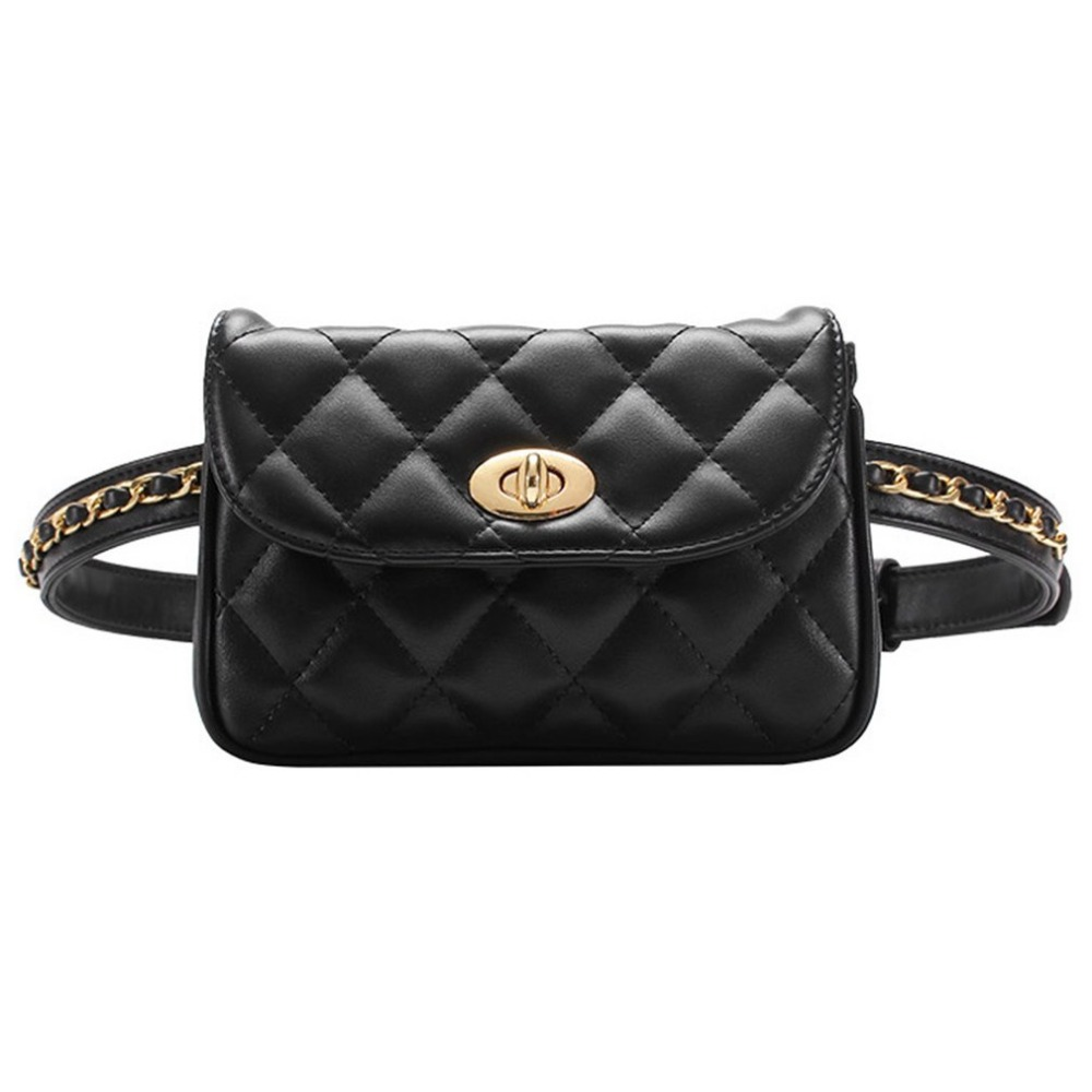 2018 New Women Waist Bags Classic Lattice Belt Bag PU Leather Fanny Pack Cell Phone Purse for Ladies ZX367701
