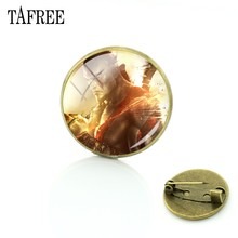 God of War TAFREE Broches Pinos Moda Novidade Antique Bronze Banhado A Cúpula De Vidro Clássico Jogo Fãs Crachá Das Mulheres Dos Homens de Jóias GW01(China)