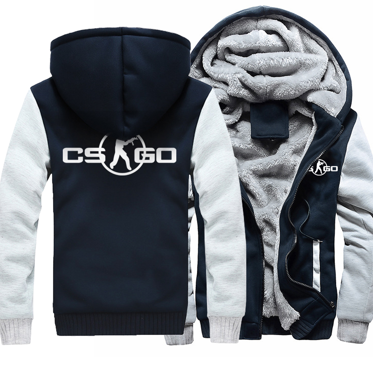 2018 High quality Thick Zipper Sweatshirts Hipster Print CS GO Winter Jacket For Men Hoody Costume Hoodies Men Hip Hop Harajuku