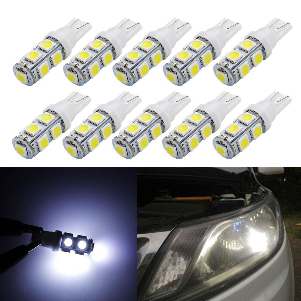 10PCS W5W 194 LED Light Bulb White 921 168 LED Bulb Super Bright 12V SMD For Car Lights Door Reading Trunk Tail Lights