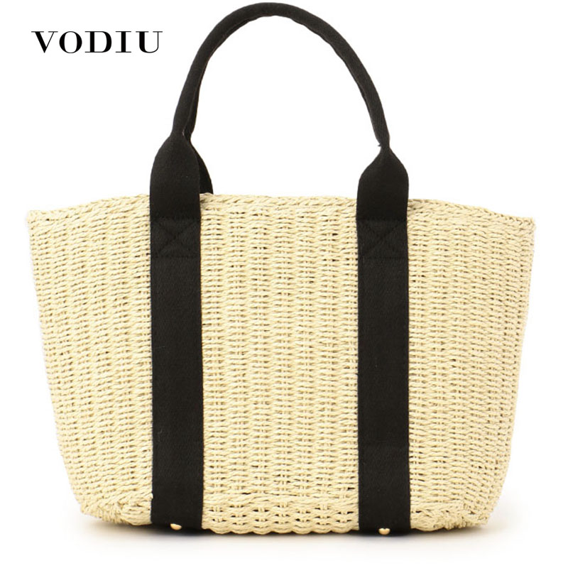 69a80175ff80 US $16.33 35% OFF|Women Handbag Straw Summer Beach Bag Large Capacity Totes  Woven Rattan Handmade Knitted Travel Top handle Bag INS Style Vintage-in ...