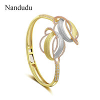 Nandudu New Arrival Two Leaf Open Cuff Bangle for Women Three Tones High Quality Brass Cubic Zirconia Bracelet Gift B1119