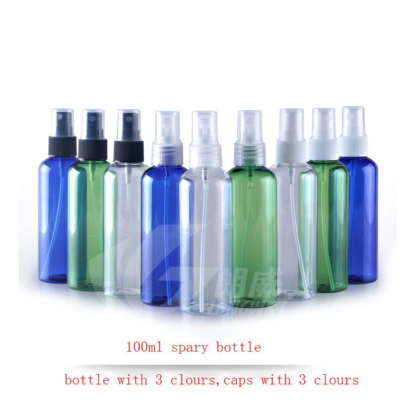 50pc/<font><b>lot</b></font> <font><b>100ml</b></font> Transparent blue green <font><b>bottle</b></font> <font><b>spray</b></font> pump plastic <font><b>bottles</b></font> with transparent white black cap image