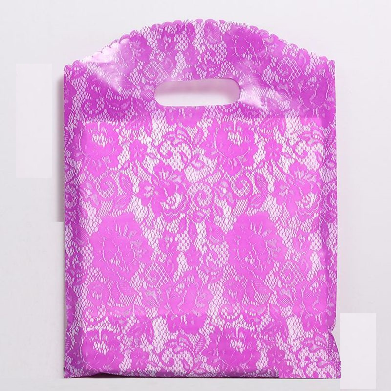 50pcs/lot Multi size Lace pattern Gift Bag Plastic Shopping Bags Jewelry Boutique Gift Clothing Packaging Plastic Bags