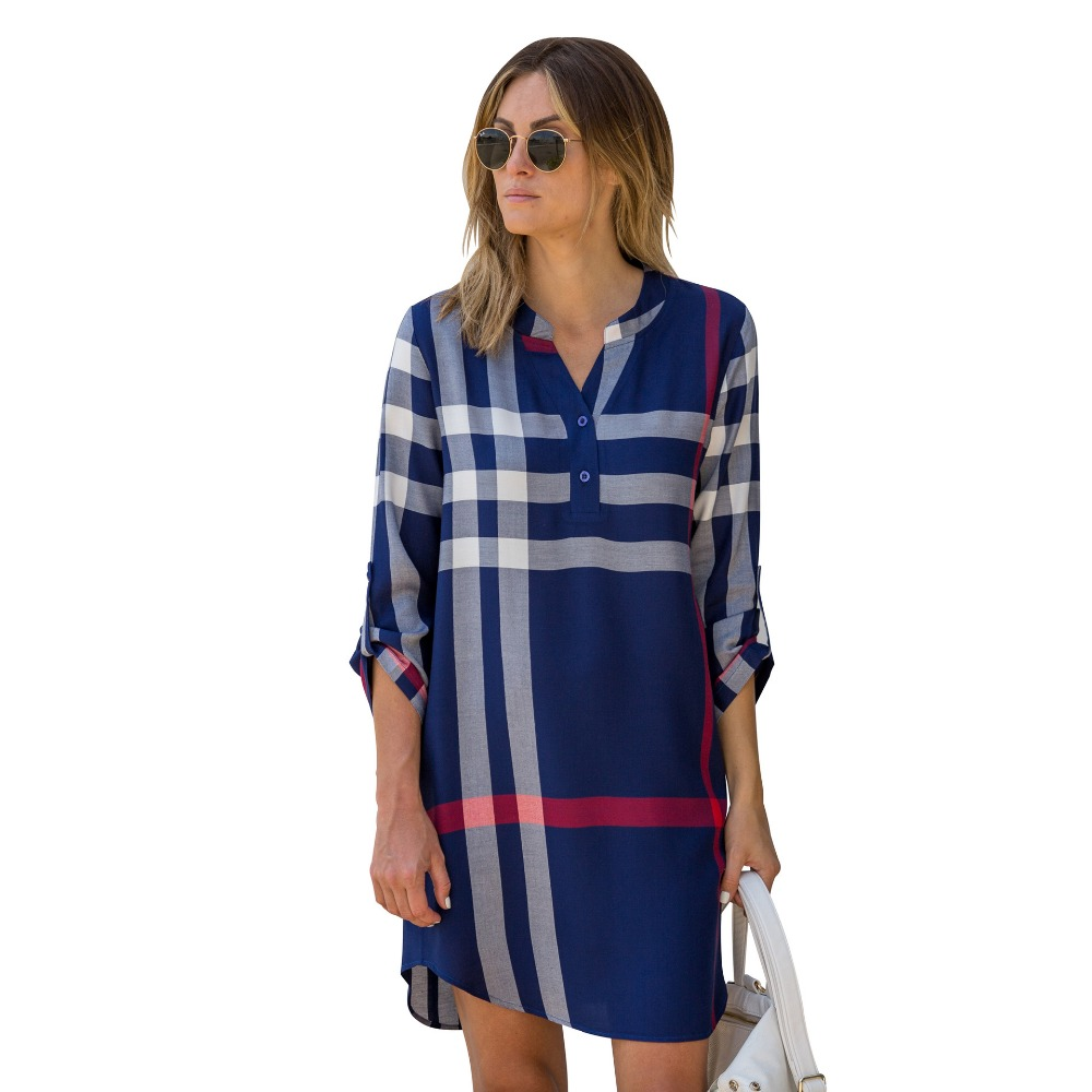 S XL Boho Summer Dresses 2017 Full Sleeves Knitted V Neck Plaid Loose Style Above Knee