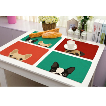 Cute Cartoon Dog Printed Western Pad Cotton Linen Table Placemat Insulation Disc Bowl Dining Table Mat Coasters Kitchen Tools placemat for dining table world map kitchen placemat coaster dining table mats cotton linen pad bowl cup mat 42 32cm home decor