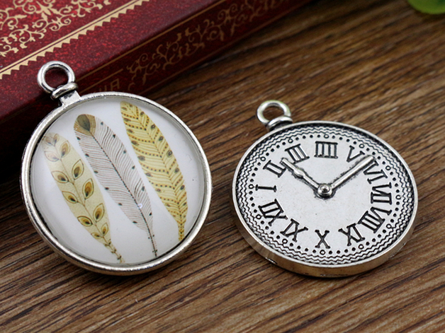 New Fashion  5pcs 25mm Inner Size Antique Silver Clock  Cabochon Base Setting Charms Pendant (A3-06)