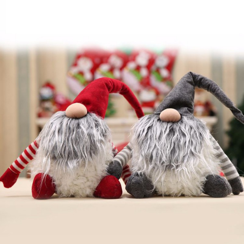 Christmas Decoration For home Santa Claus new Year Gnome Handmade Swedish tomte nisse Plush Xmas Funny