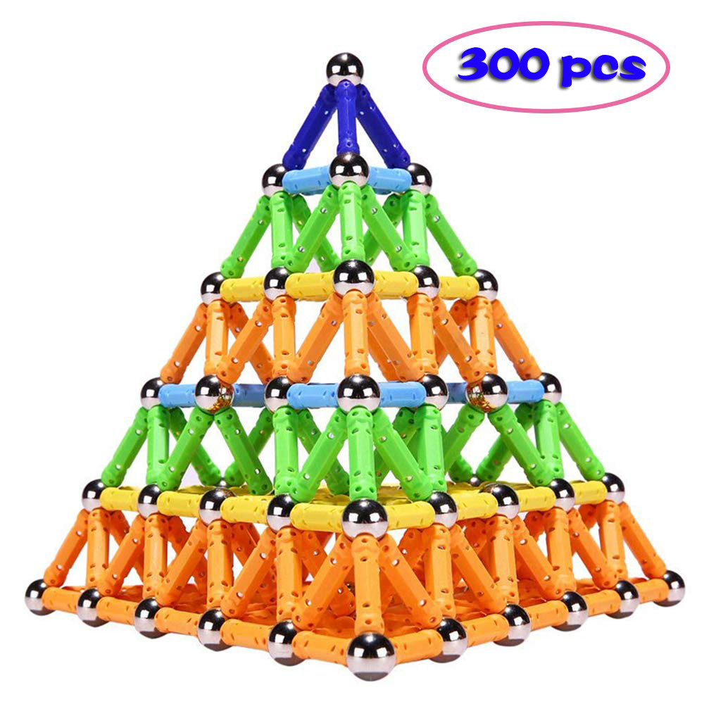 300pcs Magnet Toy Sticks & Metal Balls Magnetic Building Blocks Construction Toys For Children Kids Educational DIY Designer Toy